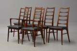 Niels Kofoed; seks stole i palisander, model Lis (6)