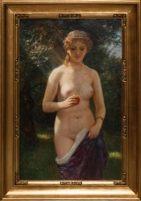 Otto Bache. Standing female model with apple, oil on canvas, c. 1900