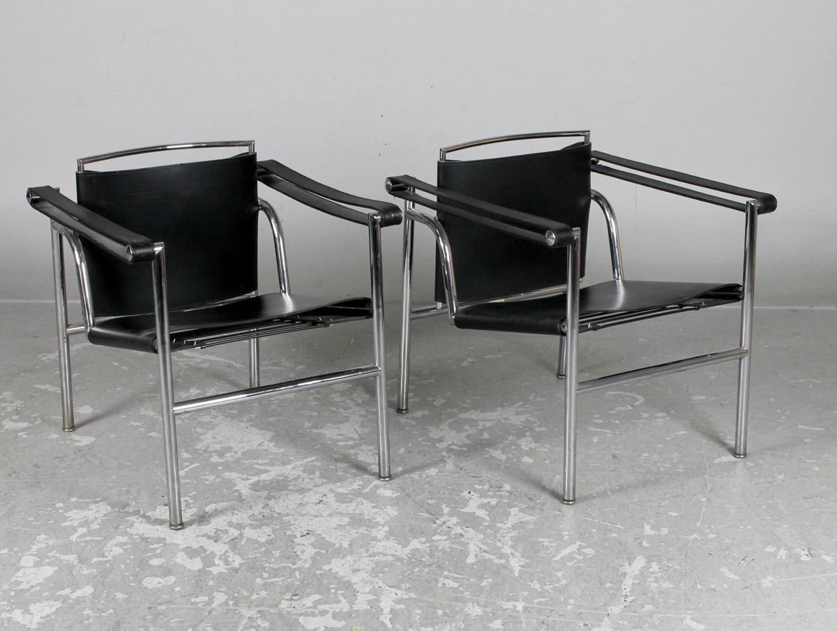 Le Corbusier, Cassina, karmstolar LC1, 2 st |