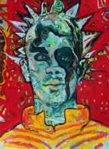 Hans Oldau Krull. 'Punk indianer', acrylic on canvas