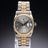 Rolex 'Day-Date Tridor'. Herreur i 18 kt. trefarvet guld med diamantskive, ca. 1993