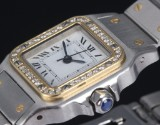 Cartier 'Santos Lady'. Automatic ladies' watch in 18 kt. gold and steel with diamonds, 1990s