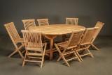 Havemøbelsæt, Bord og otte stole, teaktræ (9)