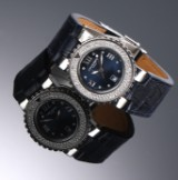 Chaumet 'Class One'. Ladies watch, steel, with blue dial and diamonds, 2000s