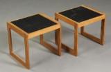 Dansk møbelproducent. Par sideborde af fyrretræ og linoleum (2)