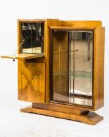 Illuminated bar cabinet, France, Art Deco, walnut/mahogany c. 1930
