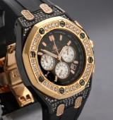 Techno by JPM. Men's watch, steel partly gilt, with diamonds