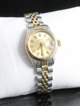 Rolex oyster pepetual date automatic watch in two tone 18kt