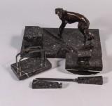 Skrivbordsgarnityr, brons och marmor, 1930/40-tal (5)