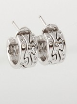 Georg Jensen. A pair of diamond earrings, Fusions, 18 kt. white gold (2)