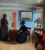 Adolf Heinrich Hansen. Fanø interior with three generations, oil on canvas