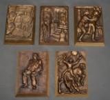 Anders Nyborg. Samling relieffer af bronze (5)