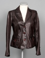 Armani Jeans. Brun skind jakke, str. ca. 38.