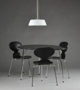 Arne Jacobsen. Anniversary set: Egg table, chairs model 3100 and Stelling pendant (5)