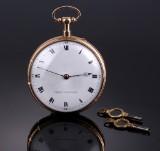 Urban Jürgensen. Men's pocket watch, 18 kt. gold with repetition movement, c. 1810