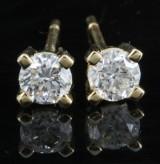 Earrings in 18k set with brilliant cut diamonds 0.80 ct