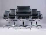 Charles Eames. Set of six lounge chairs from the series 'Aluminium Group' Model EA-107, full leather (6)