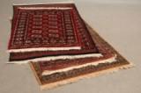 Fire ægte tæpper, knyttet i rødlige farver (4)