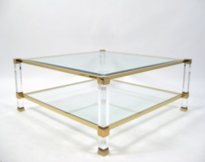 lot 3038559 pierre vandel paris coffee table brass frame on acrylic feet glass table top. Black Bedroom Furniture Sets. Home Design Ideas