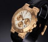Bvlgari 'Diagono'. Men's chronograph, 18 kt. gold, with pale dial, 1990s
