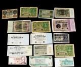Samling sedlar och banknoter, merparten Tyskland 1920-tal, (38)