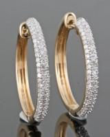 Diamond hoop earrings in gold approx. 0.72ct