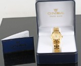 Onsa gold plated automatic watch with box and papers