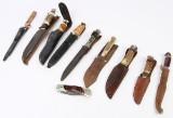 Samling på ti håndbyggede knive. B.la Bowie kniv. (10)