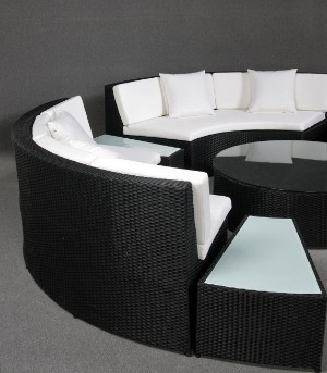 lot 1895554 lounge furniture round sofa set and table. Black Bedroom Furniture Sets. Home Design Ideas