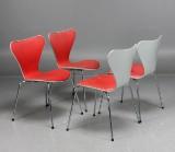 Arne Jacobsen, stolar 3107 'Sjuan', 4 st