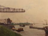 G. Hambüchen, oil painting, 'Industrieszene am Rhein'