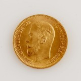 Mynt guld Ryssland 5 rubel