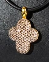 750 gold cross shape pendant with diamonds