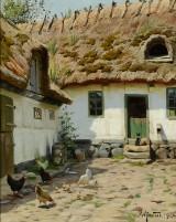 Peder Mønsted, olie på lærred, gårdsplads med kat og høns