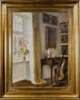 Carl Holsøe, olie på lærred, interiør med indfaldende lys