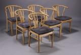 Dansk møbelproducent. Spisestole, ubehandlet egetræ (6)