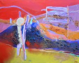 Gönül Sen-Menzel, blandingsteknik, 'Landschaft III'