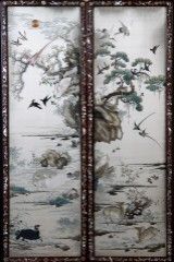 Two Chinese framed embroideries, on silk, mid-19th century (2)
