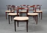 Helge Sibast og Børge Rammeskov. Stole af palisander model 465 samt bord (7)