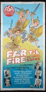 Original hand-painted film poster from family film 'Far Til Fire og Onkel Sofus'