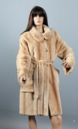 Saga Royal Palomino Mink. 'Pearl' colour, clipped mink coat with belt, size 40-42