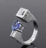 Tanzanit og diamantring