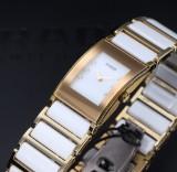 Rado 'Integral'. Ladies watch, white ceramic and gold with diamonds