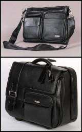 Apples. To tasker i sort læder. Rejse/weekend samt skuldertaske. (2)