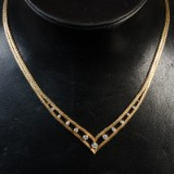 Vintage halscollier 14 kt. guld med brillanter ca. 0.63 ct.