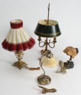 Samling bordlamper af messing (4)