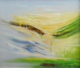 Acrylgemälde, unbekannter Künstler 'Abstrakte Landschaft'