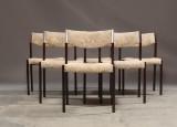 Seks spisestole, dansk møbelproducent mørkbejset bøgetræ. (6)