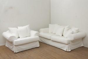 hvid sofa Hvid sofa og lænestol med aftageligt bomuldsbetræk (2) Denne vare  hvid sofa