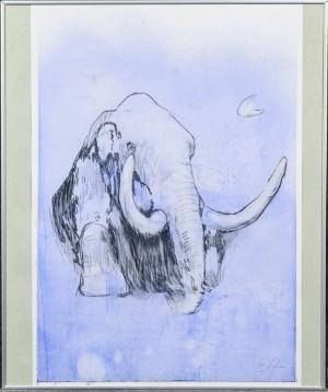 Ernst Altien, komposition med mammut - Dk, Odense, Kratholmvej - Ernst Altien f. 1977, komposition med mammut, indrammet tegning, sign. EA, 59x42 cm. (60,5x50,5 cm). - Dk, Odense, Kratholmvej